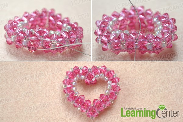 Finish 3D beaded heart pendant pattern