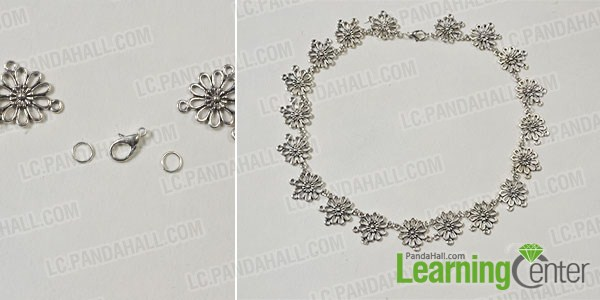 make the first part of the handmade flower and chain body jewelry