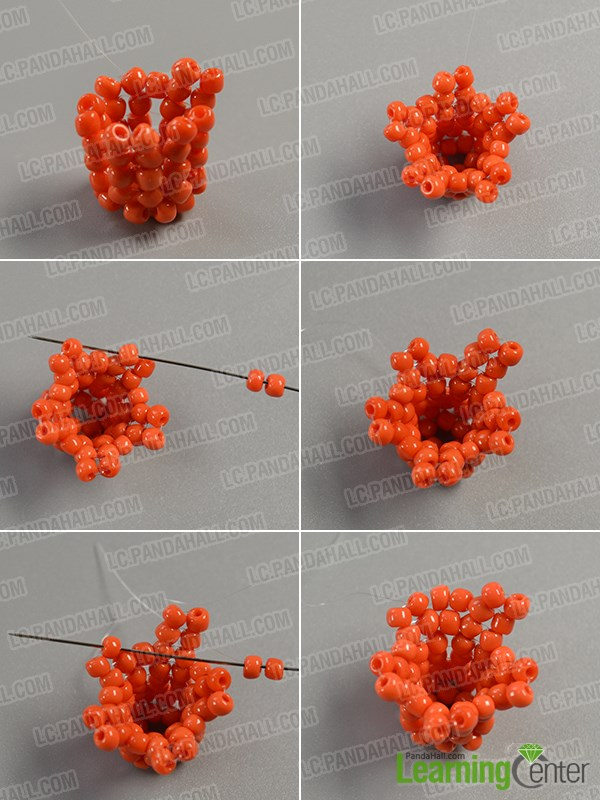 Add more orange seed beads