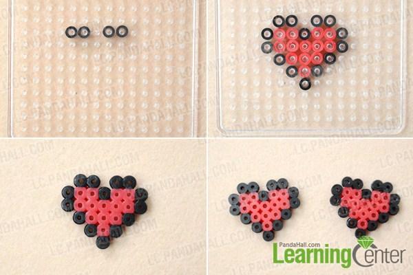 Instruction on making perler bead hair clips