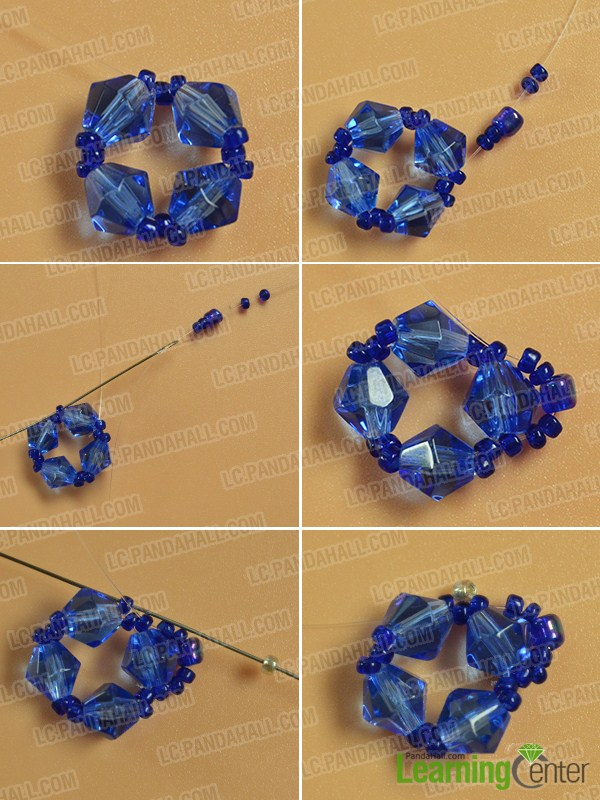 make the second part of the blue glass and seed bead bracelet