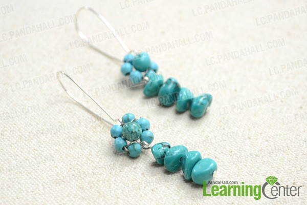 The dangling beaded flower earrings look like this: