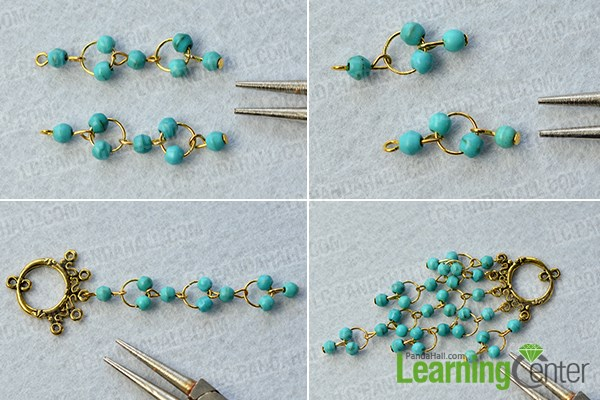 Complete the turquoise bead chandelier patterns