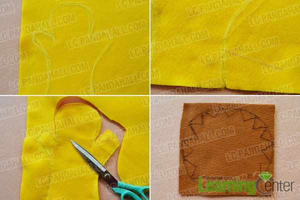 make the first part of the yellow homemade felt toy glove