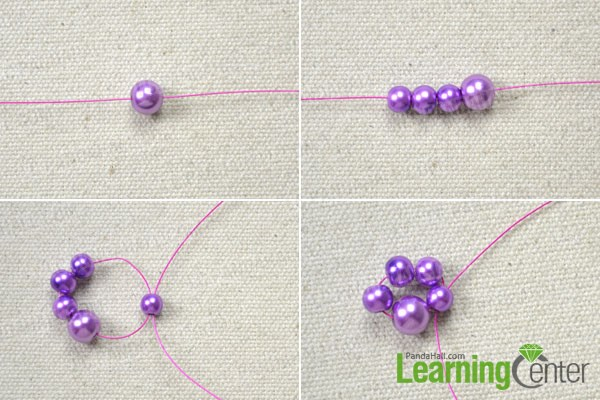 Making the purple bead chain for the beautiful necklace