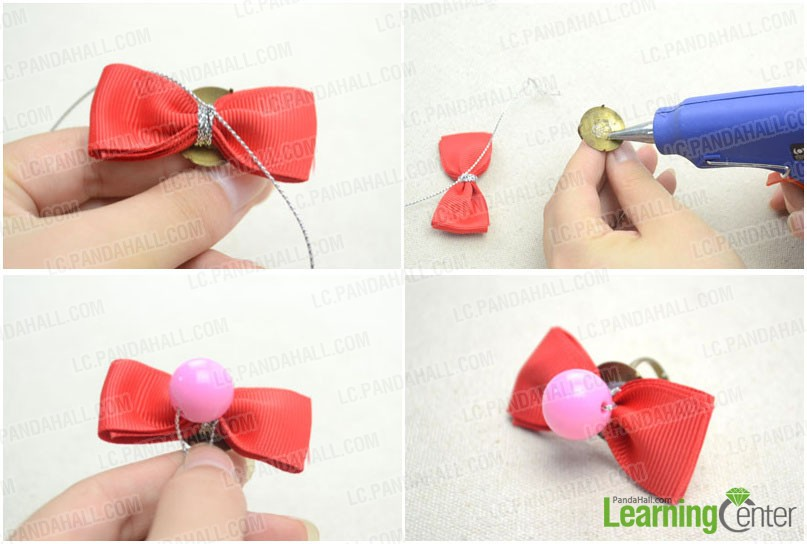 attach bow and bead to ring component
