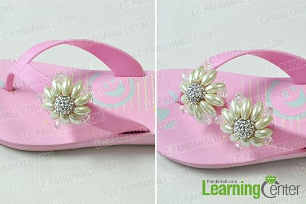 add bead flowers onto the flip flops