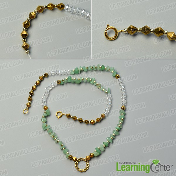 make the second part of the green gemstone bead necklace