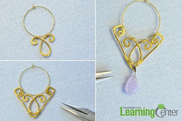 Complete the wire wrapped chandelier earrings