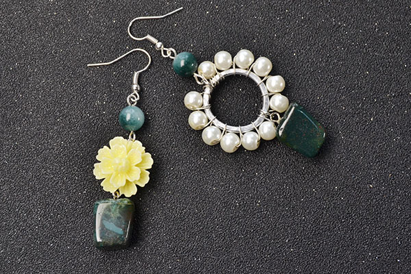 The final look for this pair of beaded dangle earrings