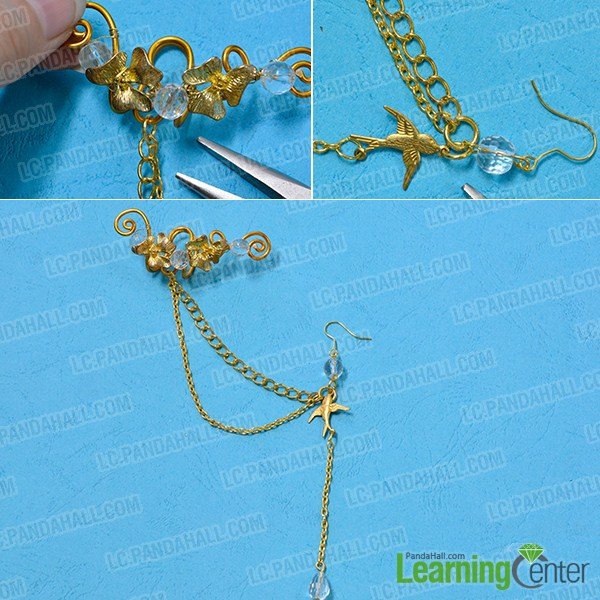 make the rest part of the golden wire wrapped and chain earring