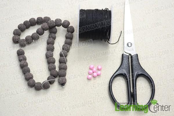 Necessities for DIY lava bead bracelet