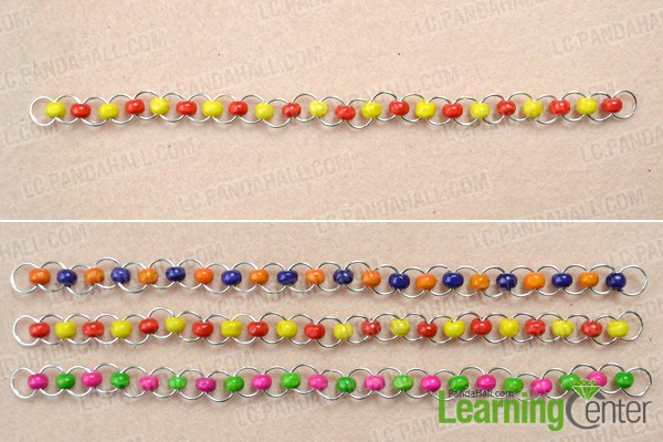 Make three jump ring chains for the bracelet