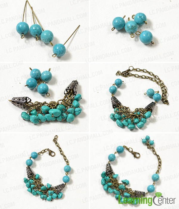 make the rest part of the handmade turquoise bead bracelet