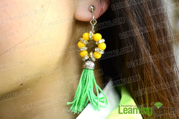 the finished beaded tassel drop earrings