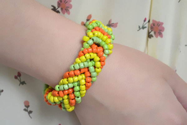 the final look of the pony bead cuff bracelet patterns