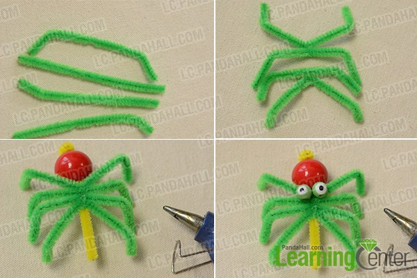 make legs for the green Halloween spider and add eyes