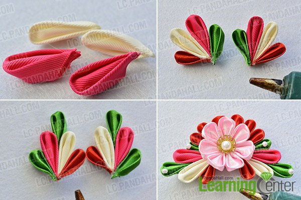 make the third part of the Japanese ribbon hair accessories