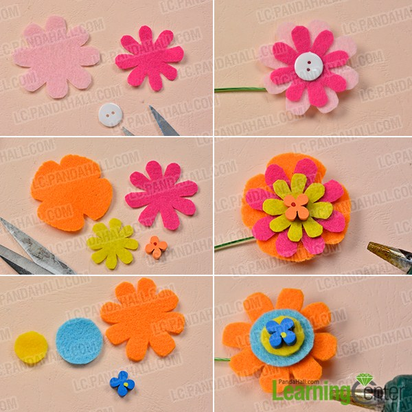 make three more felt flowers