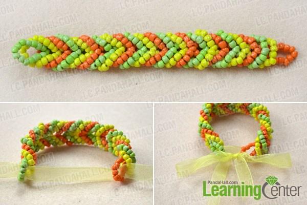Finish the pony bead cuff bracelet patterns