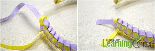 pass the purple ribbon through the yellow loop