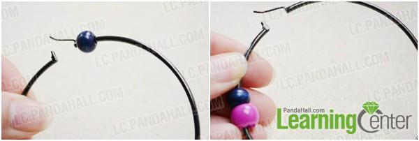 Step 1: string beads onto earring hoop