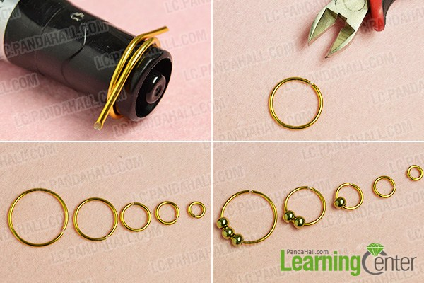 Make The First Part Of Golden Wire Wred Hoop Earrings