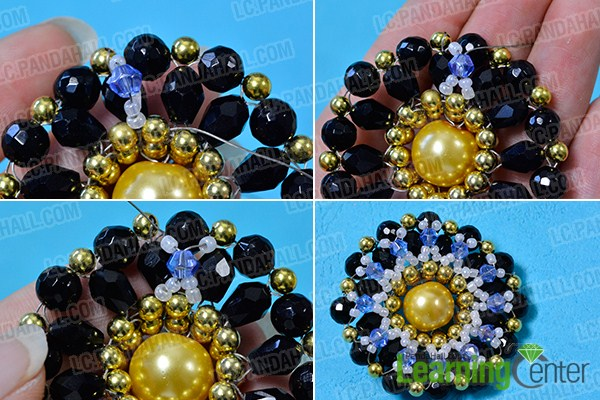 make the rest part of the blue rhombus beaded flower brooch