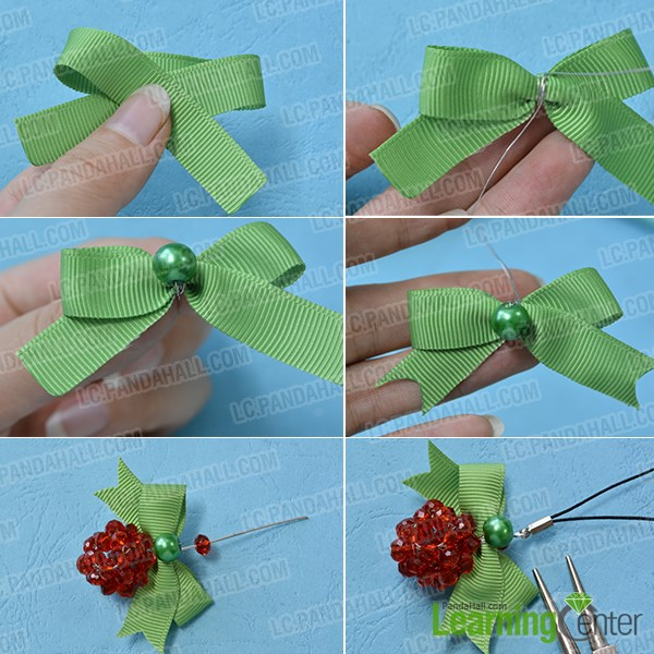 Add green ribbon bow and finish the Christmas key chain