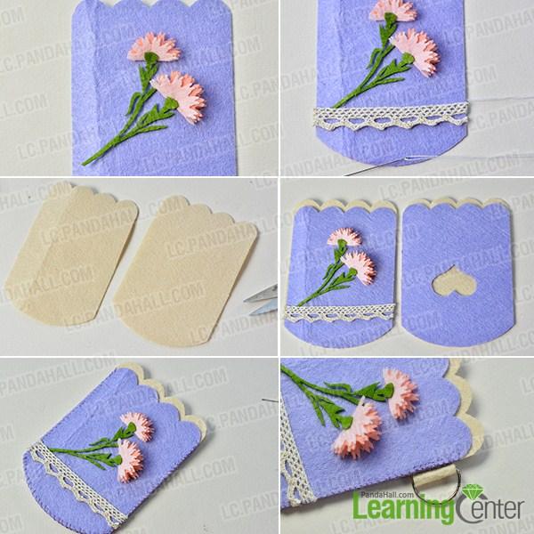 make the second part of the handmade purple felt purse