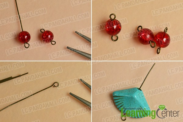 make the first part of the bead drop earrings