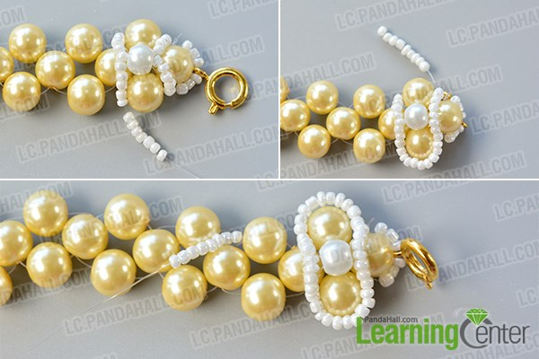 Continue to make the top layer of the wedding pearl necklace
