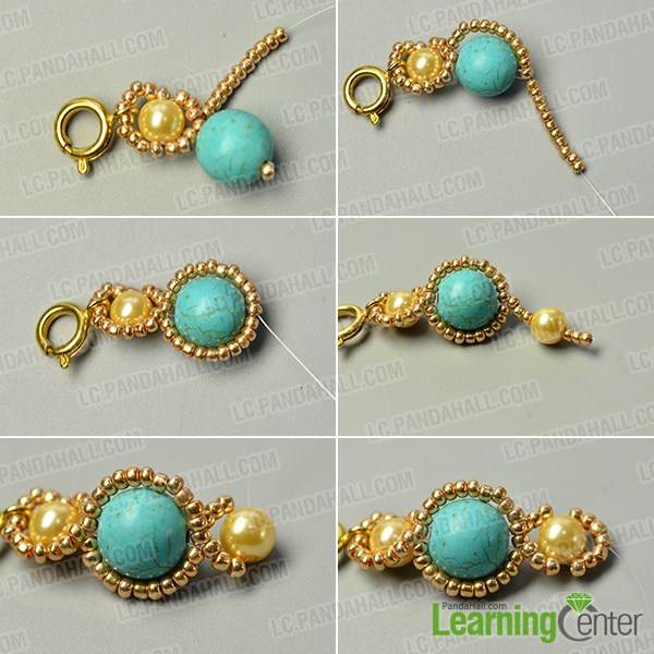 make the second part of the turquoise bead flower bracelet