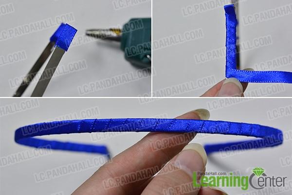 Wrap the blue ribbon