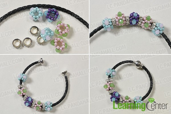 Finish the gorgeous flower pearl bracelet