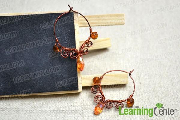 finished handmade wire hoop earrings