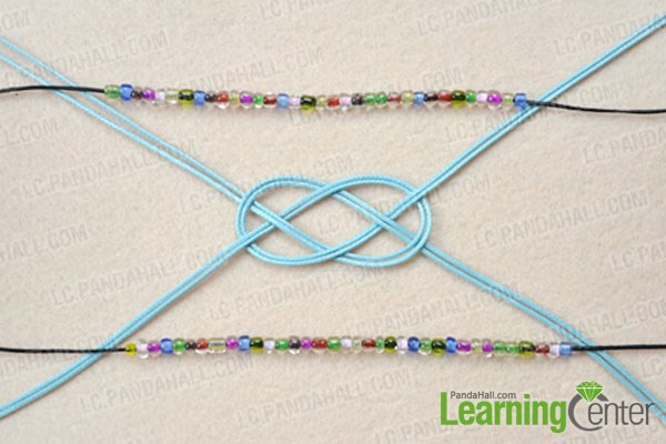 Make a sailor knot for the pony bead bracelet