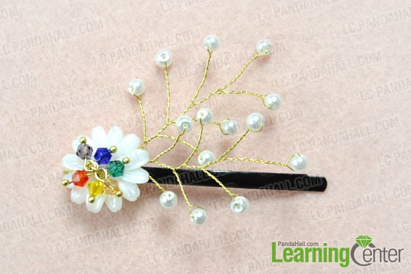 Finish making floral hair clips