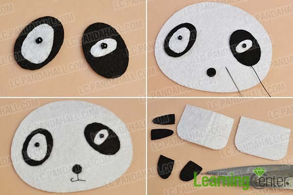 make the head of the felt panda