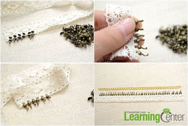 Attach the bead tips to the lace trim