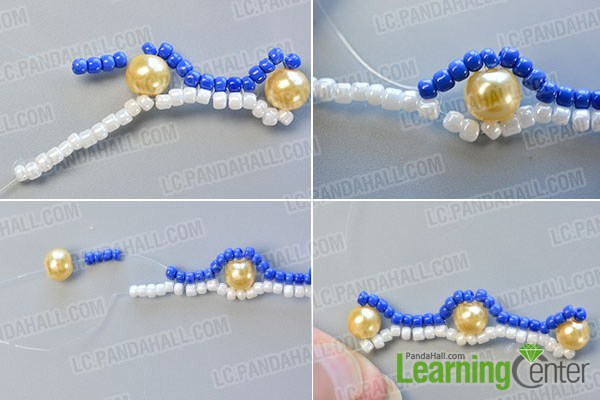 make the third part of the blue seed bead stitch wide bracelet