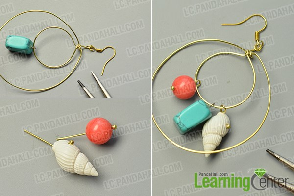 Finish the wire wrapped hoop earrings