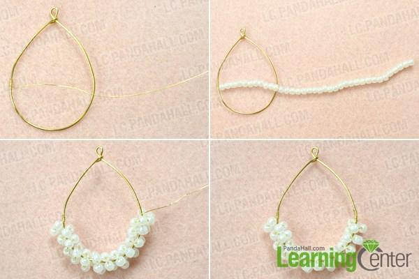 Add beads to the teardrop hoop frame