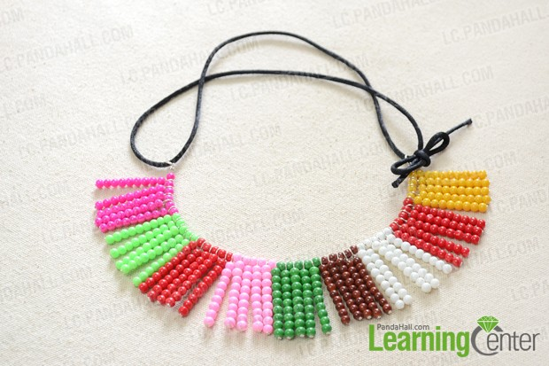 finished Colorful Glass Bead Necklace