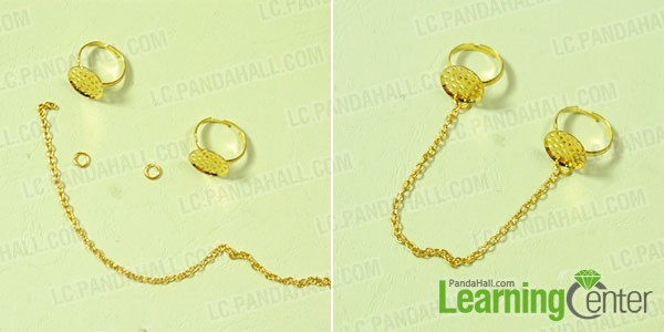 Link 2 gold ring bases with gold chains