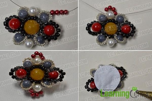 add beads around the beaded flower 4