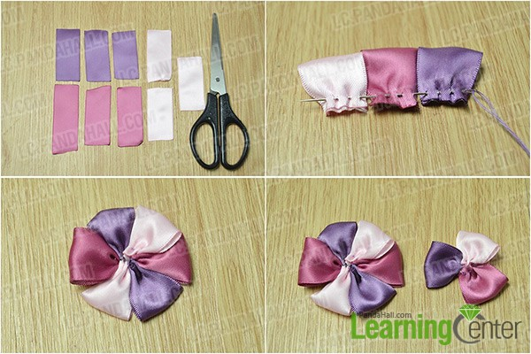 make two ribbon flowers