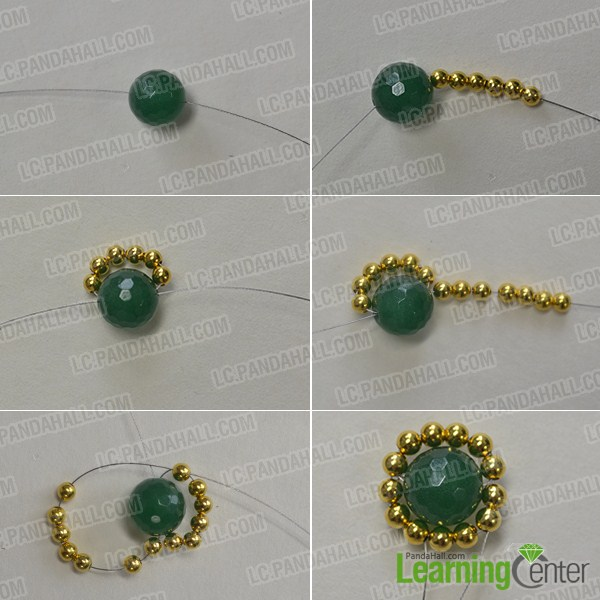 Make two beaded round parts