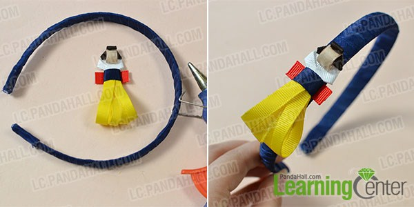 make a snow white craft and add it onto the blue ribbon headband