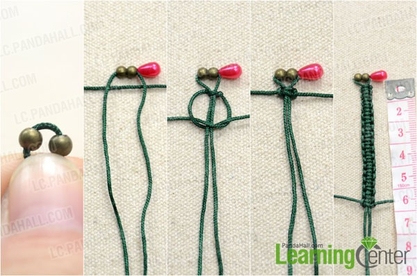 String Two Er Beads And Start To Tie Square Knot